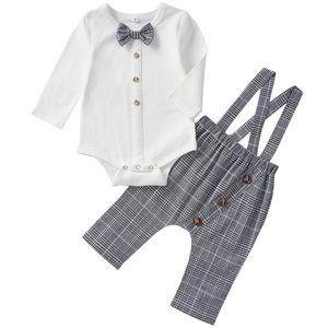 Little Gentleman's Bow tie Shirt & Suspenders Set